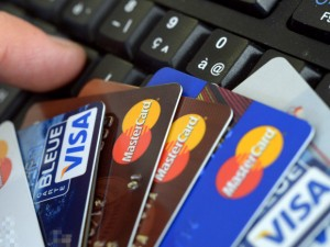 The average credit card interest rate last month was about 14.3%, the same as it was about a year ago.