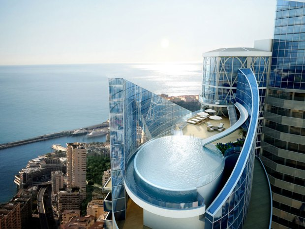 The penthouse and pool area of the Tour Odeon residential apartment block, developed by Groupe Marzocco SAM, in Monaco, France.